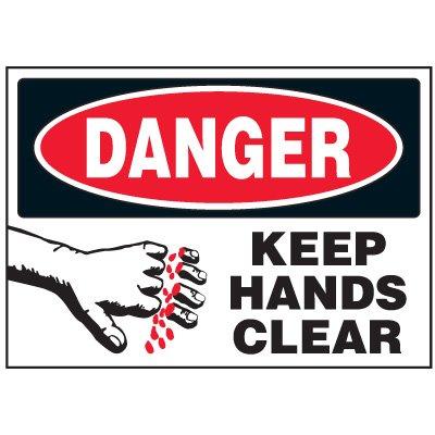 Keep Hands Clear Machine Danger Labels