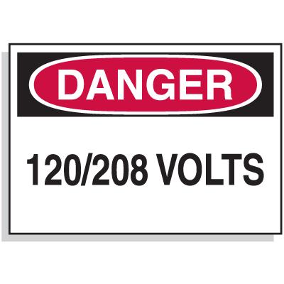 Lockout Hazard Warning Labels- Danger 120/208 Volts