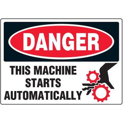 Danger Machine Starts Automatically Label
