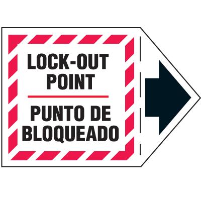 Machine Safety Arrow Labels - Lock-Out Point/Punto De Bloqueado