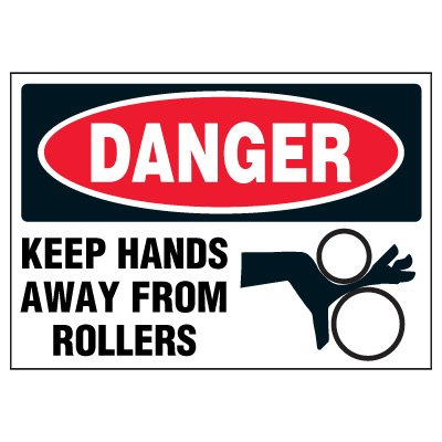 Keep Hands Away From Rollers Warning Markers