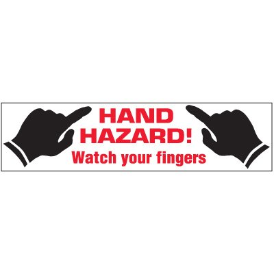 Machine Hazard Labels - Hand Hazard! Watch Your Fingers w/graphics
