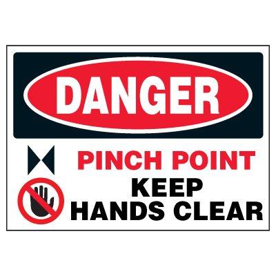 Machine Hazard Warning Markers - Danger Pinch Point Keep Hands Clear