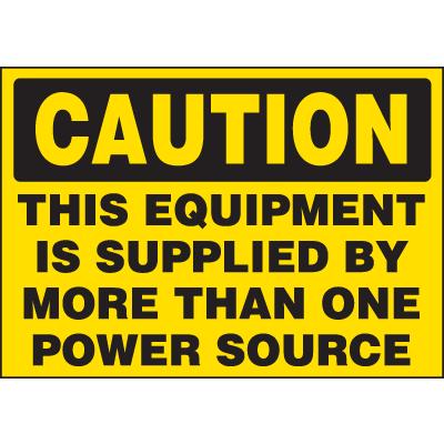 Machine Hazard Warning Labels - Caution Multiple Power Source