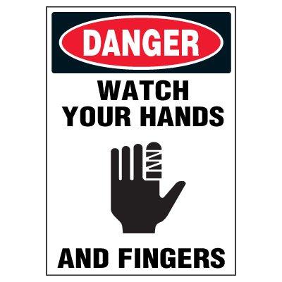 Machine Hazard Warning Markers - Danger Watch Your Hands And Fingers