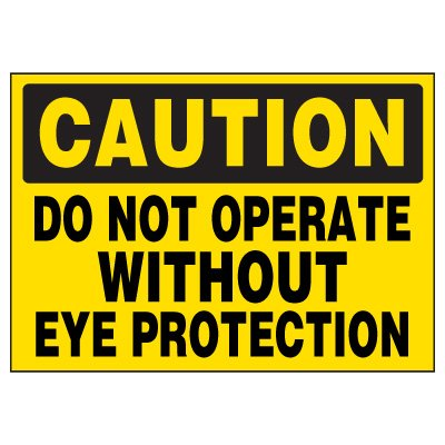 Eye Protection Required Warning Markers