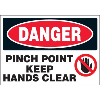 Machine Hazard Warning Labels - Danger Pinch Point