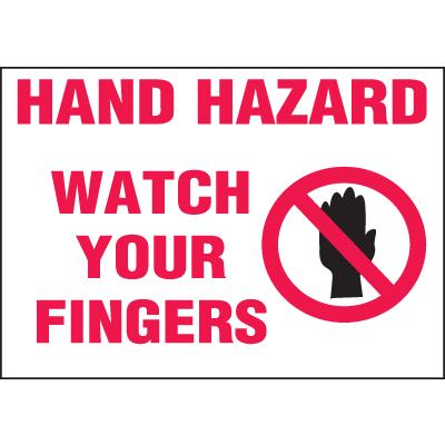 Machine Hazard Warning Labels - Hand Hazard Watch Your Fingers