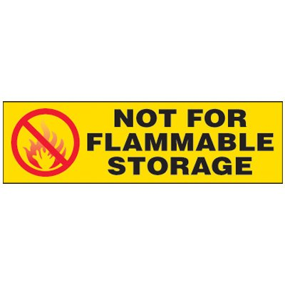 Not For Flammable Storage Magnetic Cabinet Label