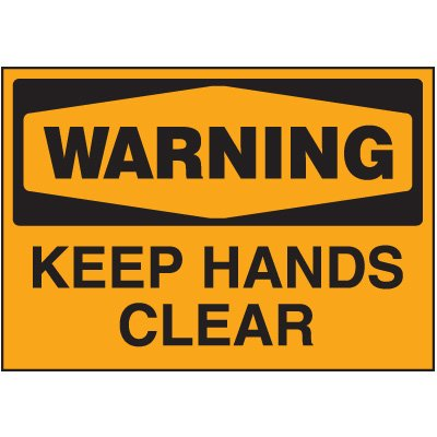 Machine Safety Labels - Warning Keep Hands Clear