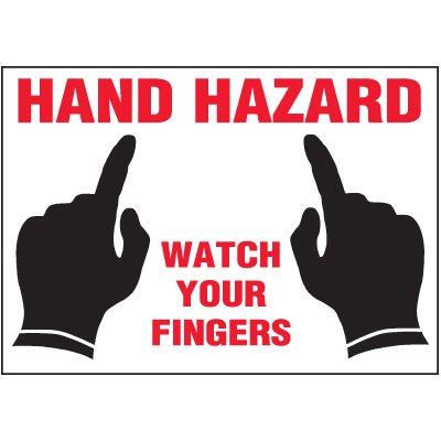 Hand Hazard Watch Fingers Label