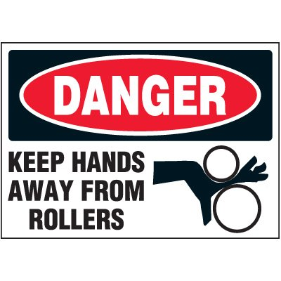 Keep Hands Away From Rollers Label