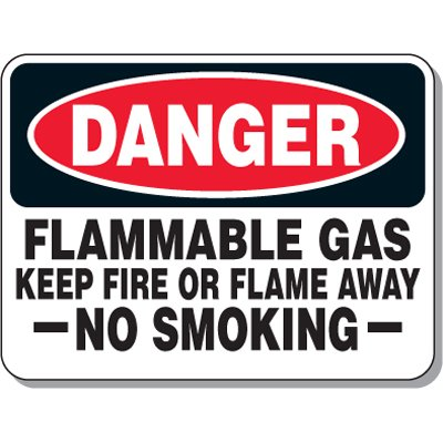 Chemical & Flammable Signs - Danger Flammable Gas Keep Fire or Flame Away