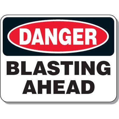 Explosive and Blasting Mining Signs - Danger Blasting Ahead