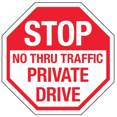 Reflective Stop Signs - Stop No Thru Traffic
