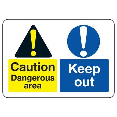 ANSI Format Multi-Message Hazard Sign - Caution Dangerous Area