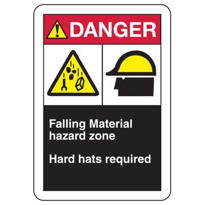 ANSI Format Multi-Message Hazard Sign - Danger Falling Material