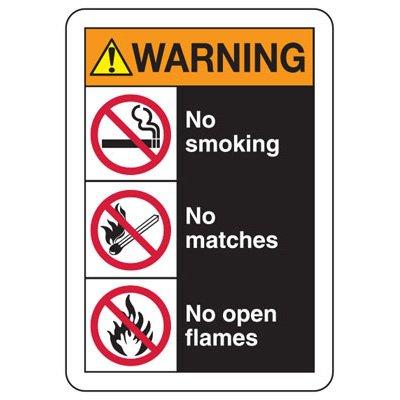ANSI Format Multi-Message Hazard Sign - Warning No Smoking