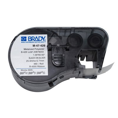 Brady BMP51/BMP41 M-47-428 Label Cartridge - Black on Light Gray
