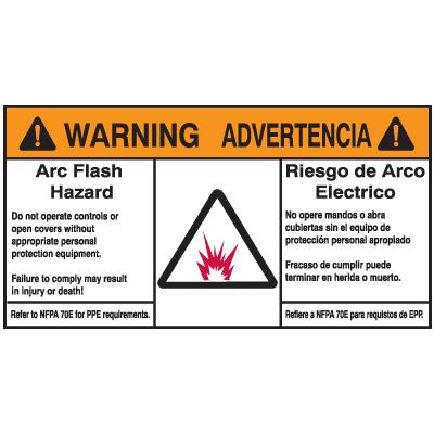 NEC Arc Flash Protection Labels - Bilingual - Arc Flash Hazard / Advertencia Riesgo De Arco Electrico