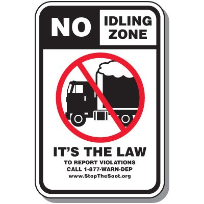 No Idling Signs - No Idling Zone It's The Law (New Jersey)