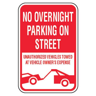 No Parking Signs - No Overnight Parking On Street