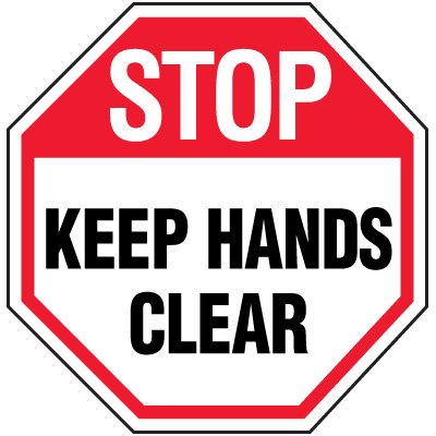 Octagon Labels - Keep Hands Clear