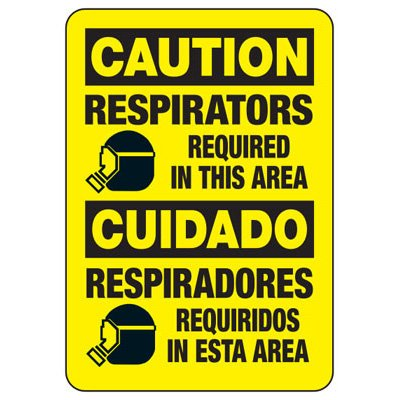 Bilingual Caution Respirators Required Sign