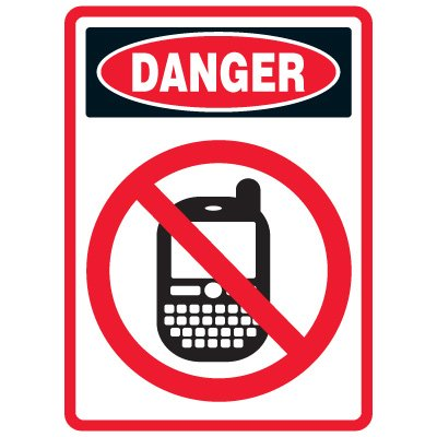 Pictogram Mining Sign - No Cell Phone Use