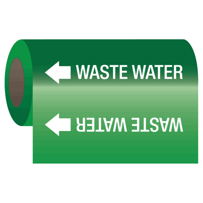 Waste Water - Self-Adhesive Pipe Markers-On-A-Roll