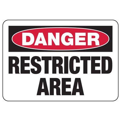 Danger Restricted Area Signs