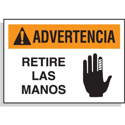 Spanish Hazard Warning Labels - Advertencia Retire Las Manos