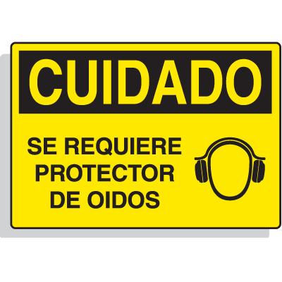 Spanish Hazard Warning Labels - Cuidado Se Requiere Protector De Oidos