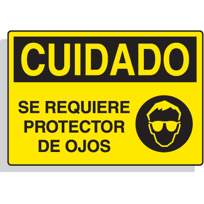 Spanish Hazard Warning Labels - Cuidado Se Requiere Protector De Ojos