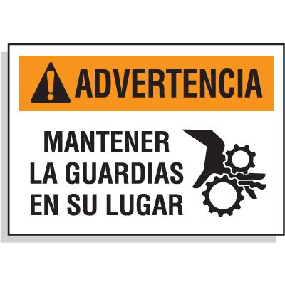 Spanish Hazard Warning Labels - Advertencia Mantener La Guardias En Su Lugar