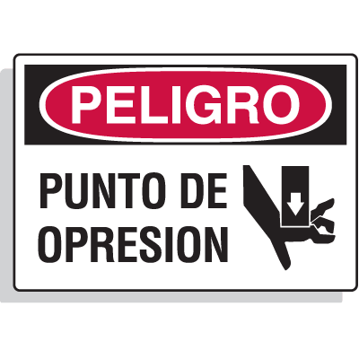 Spanish Hazard Warning Labels - Peligro Punto De Opresion