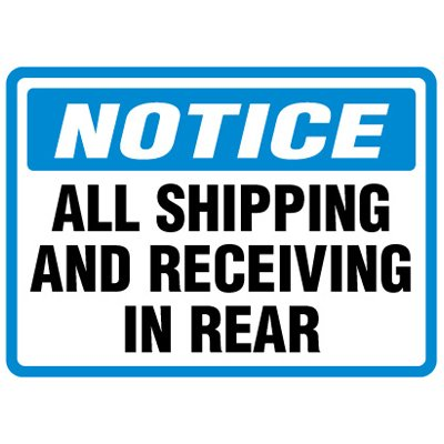 Shipping and Receiving Signs - Shipping Receiving In Rear