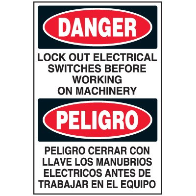 Lock-Out Labels - Danger Lock Out Electrical Switches Peligro Peligro Cerrar Con Llaves