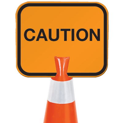 Snap-On Cone Sign - Caution - Arrow Sign CAUT