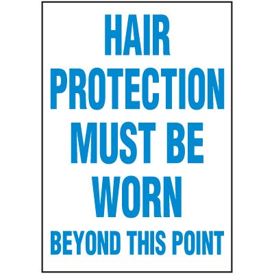 Hair Protection Must Be Worn Label