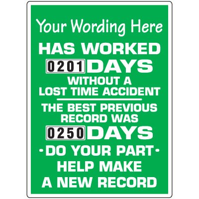Custom Days Without Accident Scoreboard