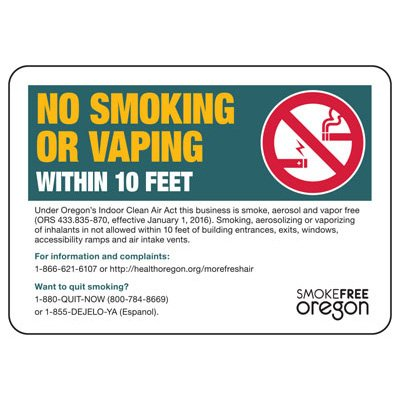 Oregon Smoke-Free Workplace Law Signs - No Smoking Or Vaping