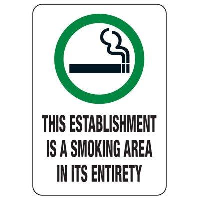 Utah Smoke-Free Law Signs - Establishment Is A Smoking Area