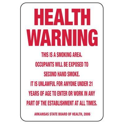 Arkansas Smoke-Free Workplace Law Signs - Health Warning