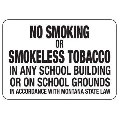 Montana No Smoking On School Grounds Sign