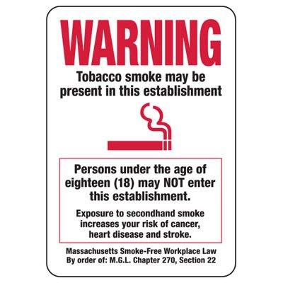 Massachusetts Warning Tobacco May Be Present Sign