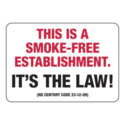 North Dakota Smoke-Free Establishment Sign