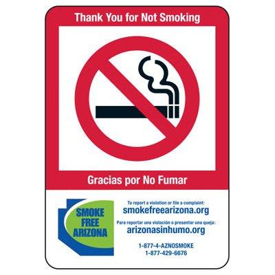 Bilingual AZ Smoke-Free Workplace Law Signs - No Smoking