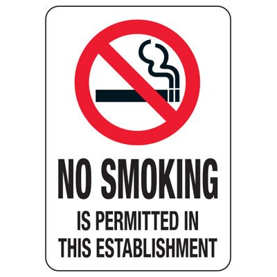 UT Smoke-Free Workplace Law Signs - No Smoking Establishment