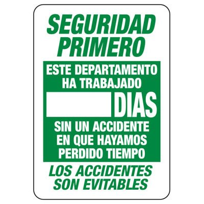Spanish Safety First Scoreboard Signs